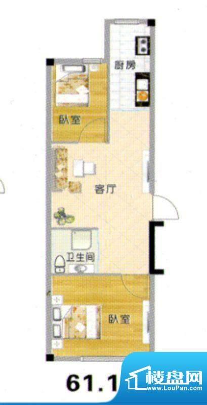 天赐良园户型图 2室面积:61.19m平米
