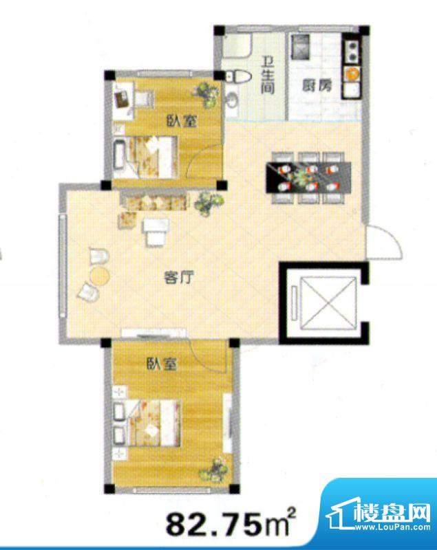 天赐良园户型图 2室面积:82.75m平米