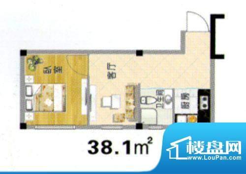 天赐良园户型图 1室面积:38.10m平米
