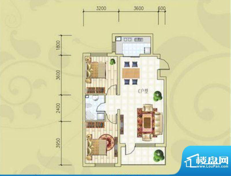 锦绣蓝湾B7号楼C户型面积:98.73m平米