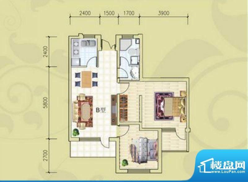 锦绣蓝湾B4/B5号楼B面积:98.35m平米