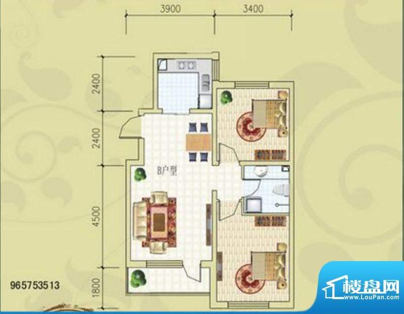 锦绣蓝湾B6号楼B户型面积:87.07m平米