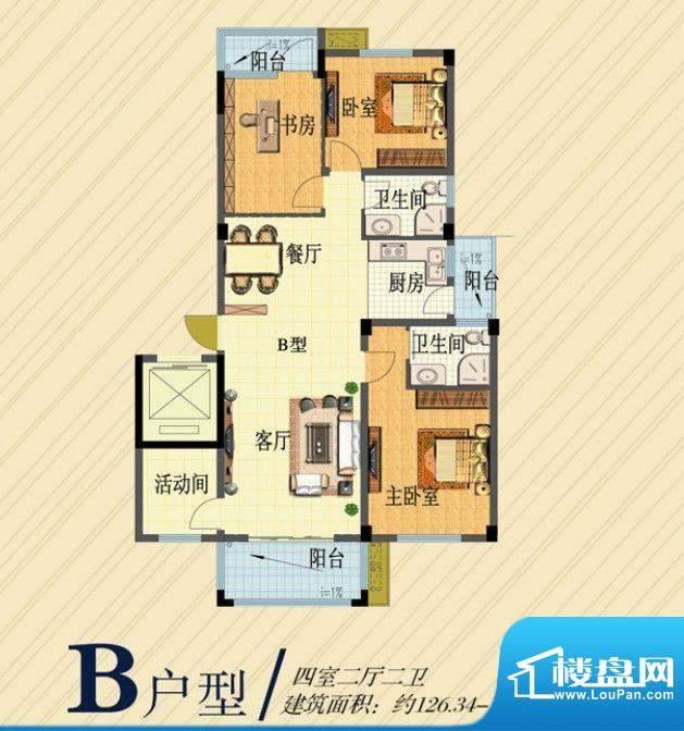 湿地风情B户型 4室2面积:129.94m平米