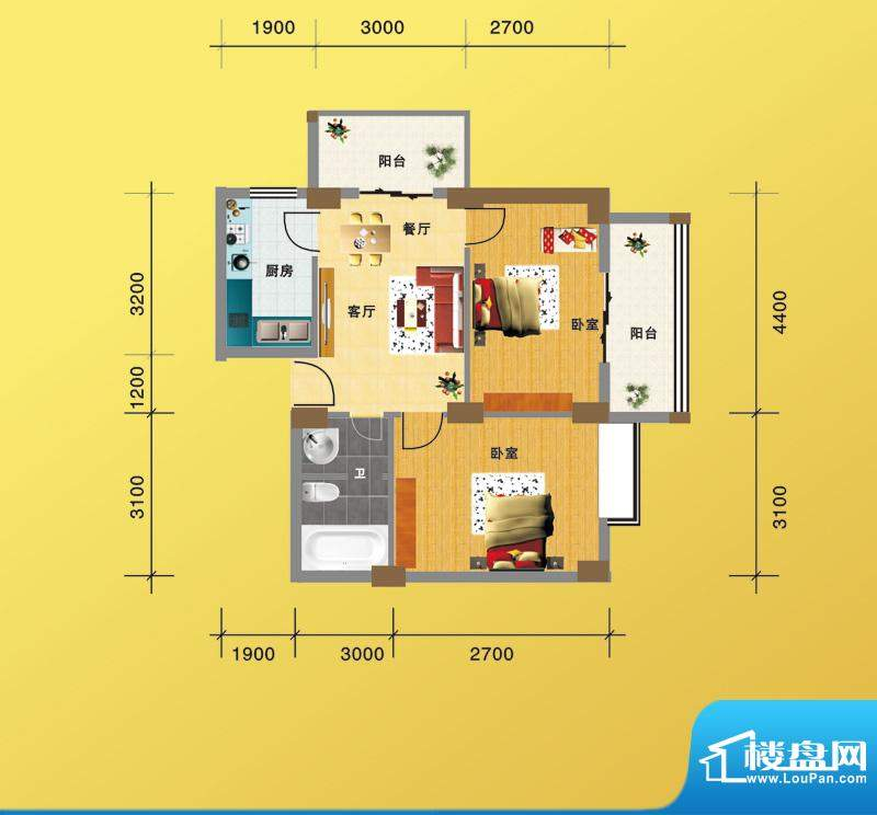 海景1号1#楼01户型 面积:70.98m平米