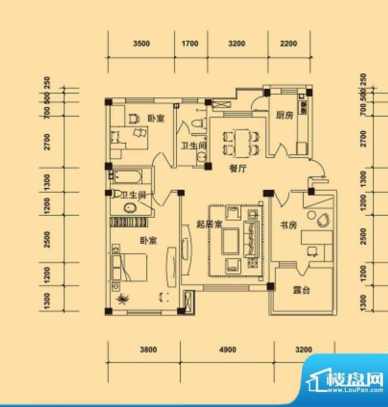 典逸心洲K户型3层 4面积:127.00m平米