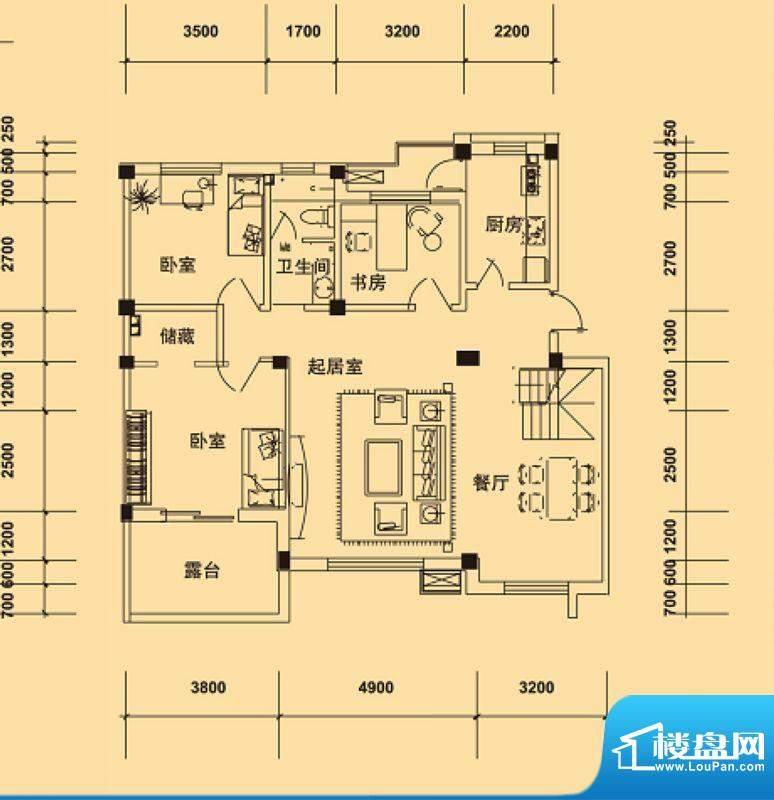 典逸心洲K户型4层 4面积:122.00m平米