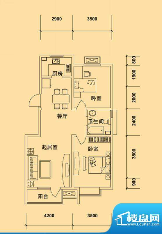 典逸心洲E户型 3室1面积:99.00m平米