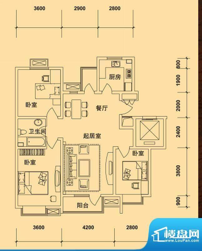 典逸心洲F户型 4室1面积:121.00m平米