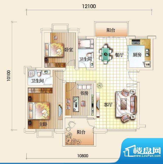 圣地亚哥B户型 3室2面积:111.45m平米