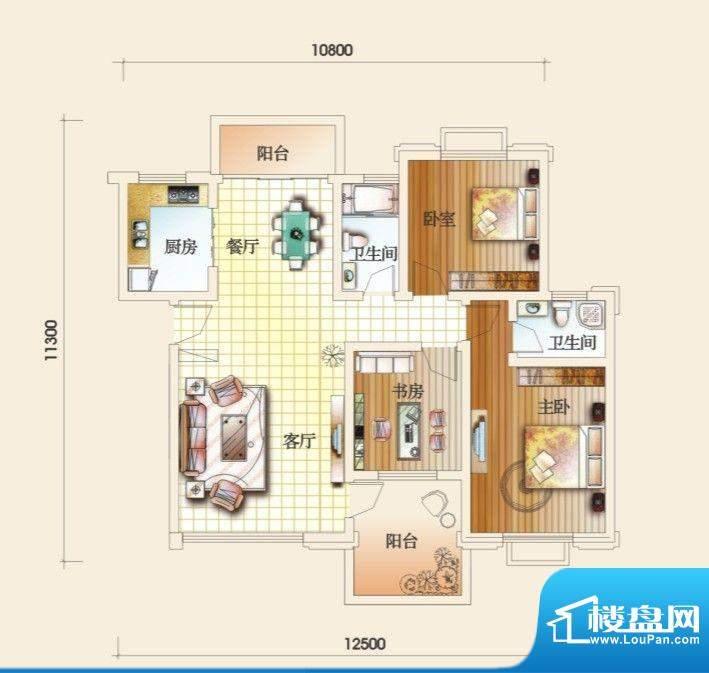 圣地亚哥C户型 3室2面积:118.10m平米