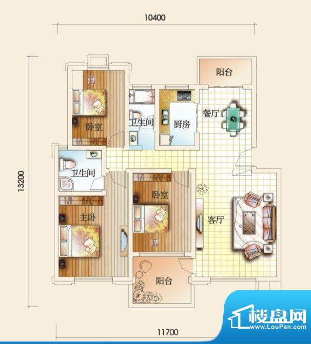 圣地亚哥E户型 3室2面积:127.52m平米