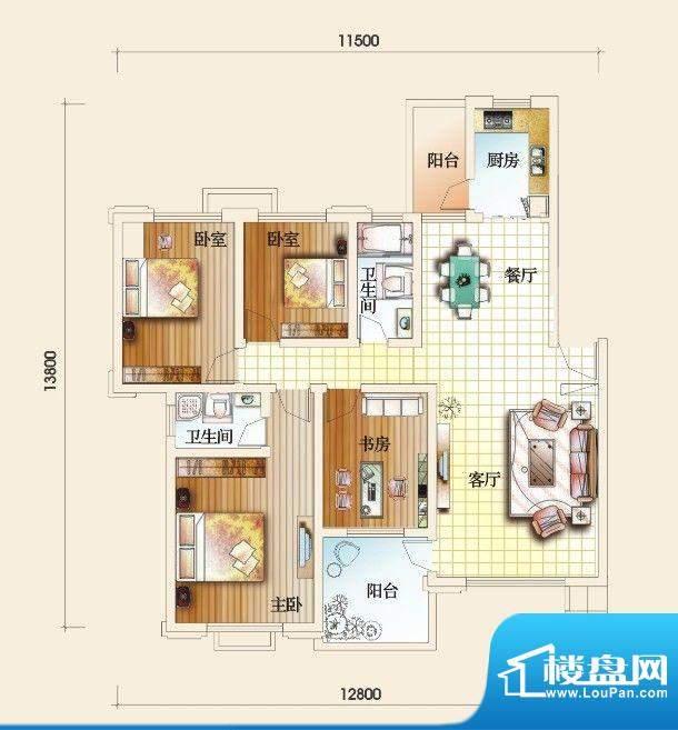 圣地亚哥F户型 4室2面积:138.37m平米