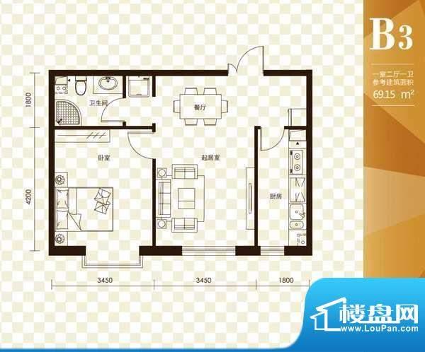 名购大厦B3户型 1室面积:69.15m平米