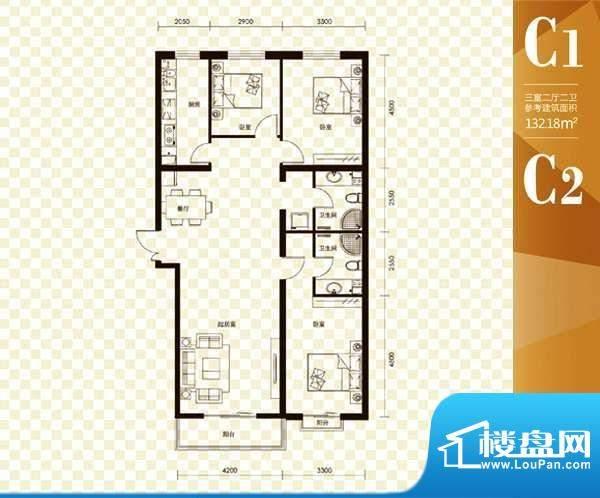 名购大厦C户型 3室2面积:132.18m平米