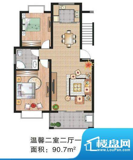 渝水华庭户型图 2室面积:99.38m平米