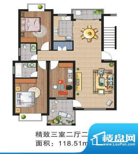 渝水华庭户型图 3室面积:118.51m平米