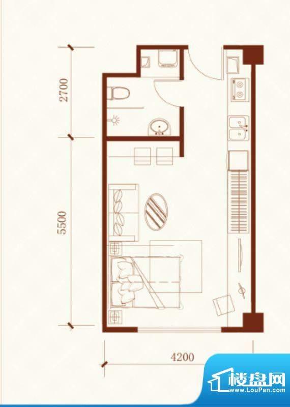 瑞盛·晶座户型图 1面积:47.69m平米