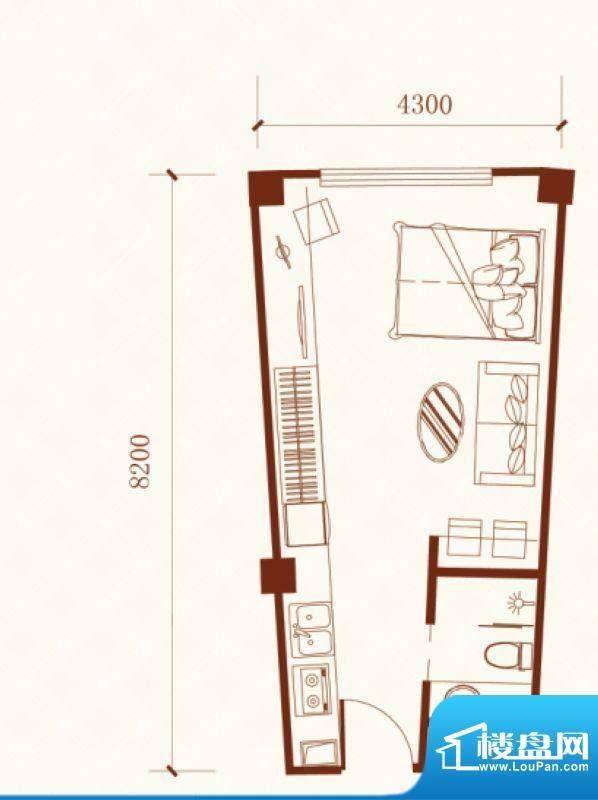 瑞盛·晶座户型图 1面积:42.96m平米