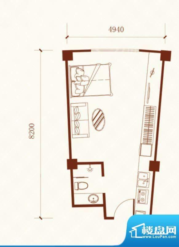 瑞盛·晶座户型图 1面积:48.96m平米