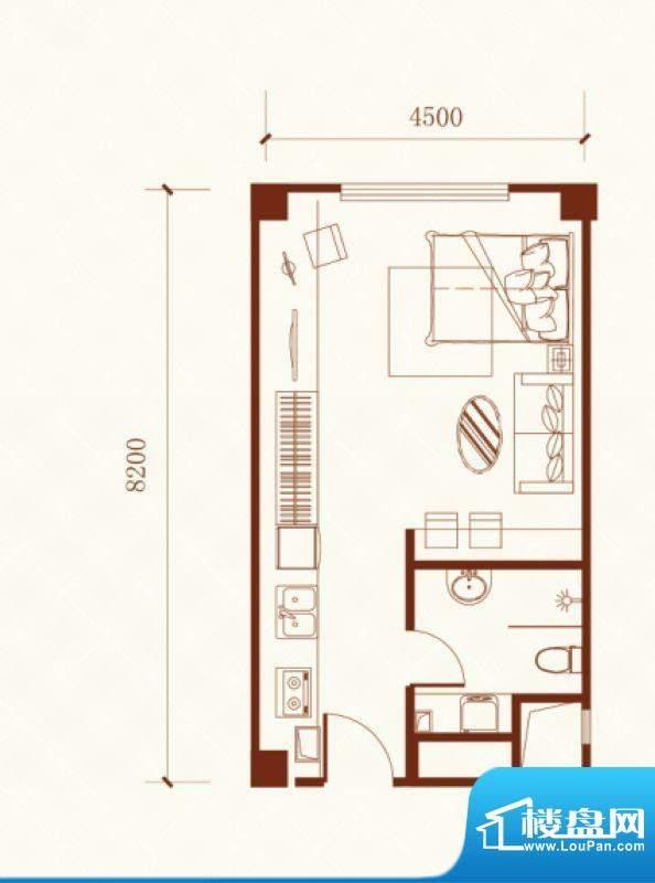 瑞盛·晶座户型图 1面积:49.87m平米