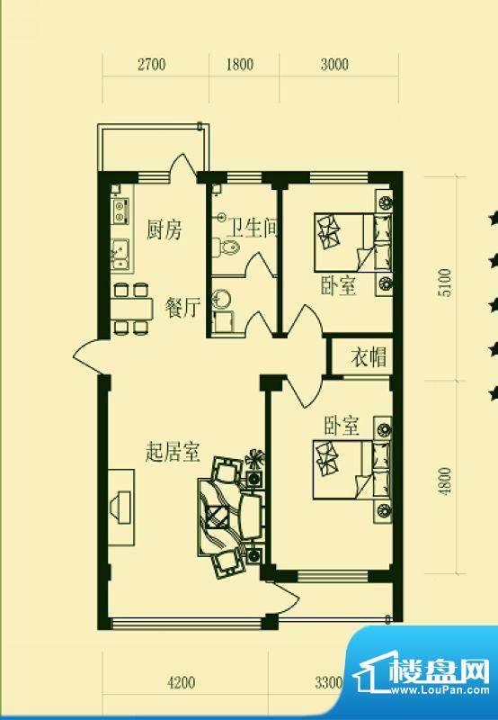 龙脉海景花园5号楼标面积:95.44m平米