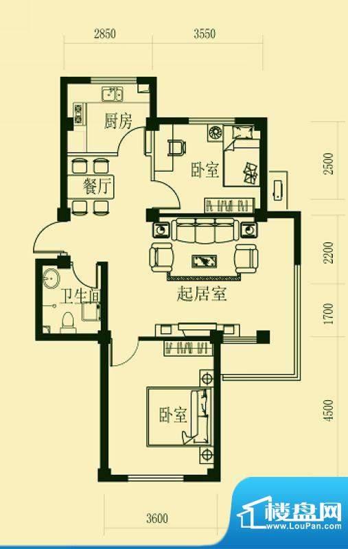龙脉海景花园4号楼标面积:90.00m平米