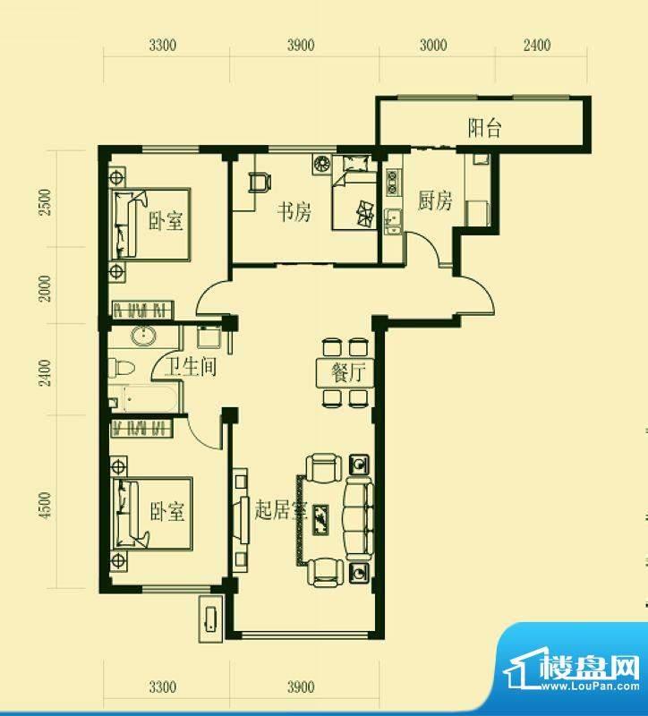 龙脉海景花园4号楼标面积:129.00m平米
