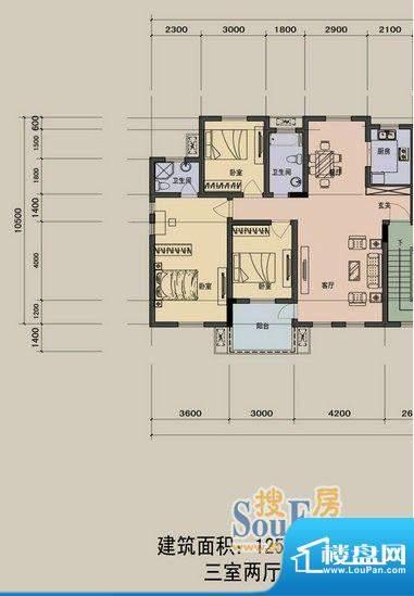 江景兰庭户型图 3室面积:125.90m平米