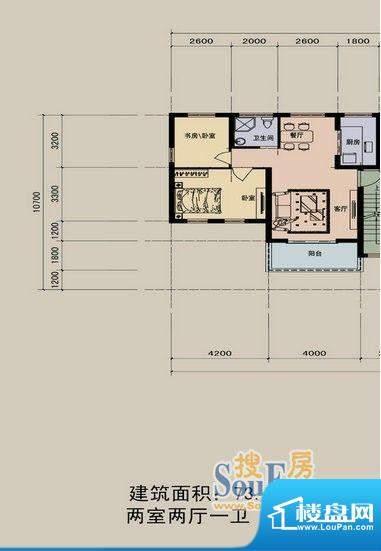 江景兰庭户型图 2室面积:73.90m平米