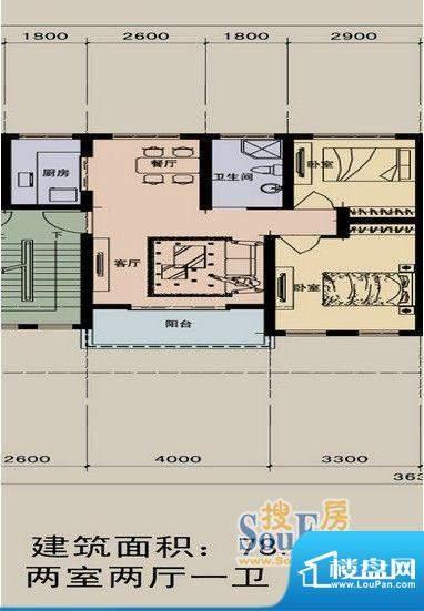 江景兰庭户型图 2室面积:78.70m平米