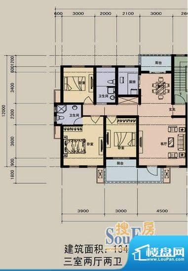 江景兰庭户型图 3室面积:134.50m平米