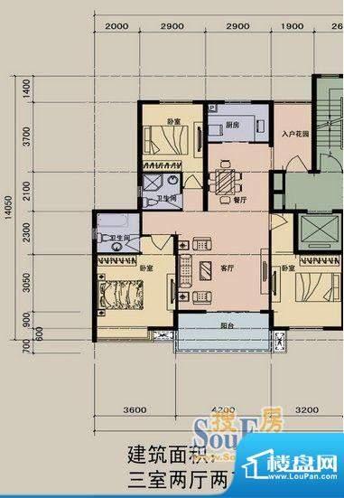 江景兰庭户型图 2室面积:125.00m平米