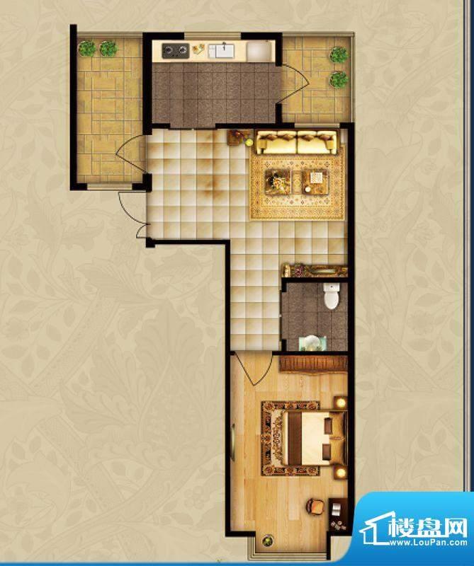 海湾壹号A1 1室1厅 面积:70.18m平米