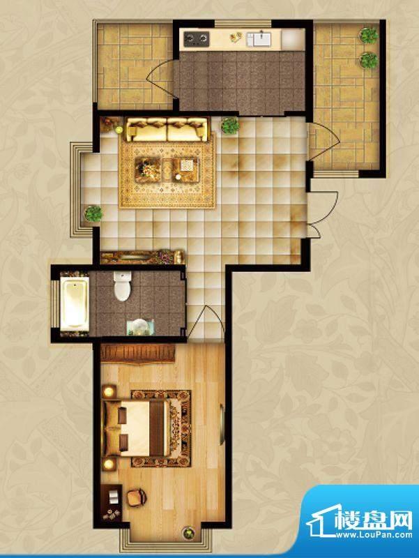 海湾壹号A3 1室1厅 面积:77.58m平米