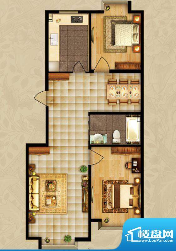 海湾壹号B1 2室1厅 面积:107.85m平米