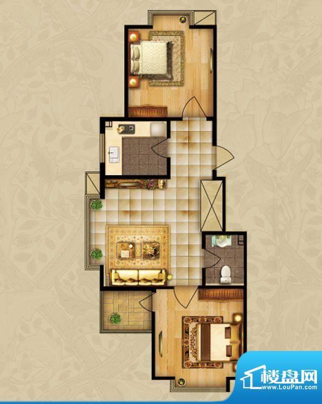 海湾壹号B2 2室1厅 面积:78.14m平米