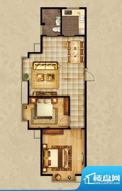 海湾壹号C1 2室1厅 面积:87.75m平米
