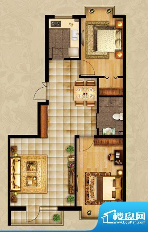 海湾壹号C2 2室1厅 面积:100.10m平米