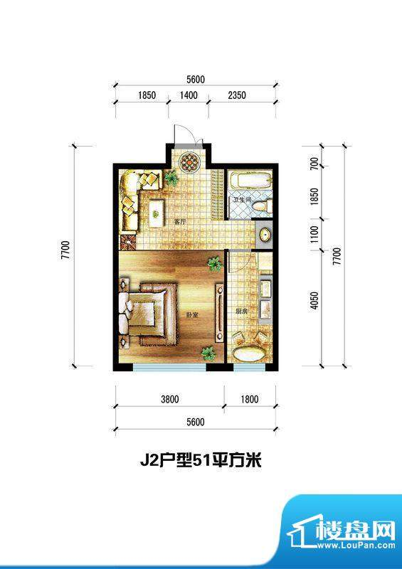龙栖左岸J2户型 1室面积:51.00m平米