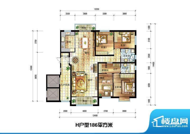 龙栖左岸H户型 4室2面积:186.00m平米