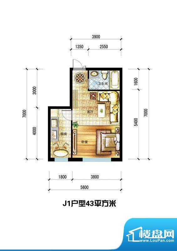 龙栖左岸J1户型 1室面积:43.00m平米