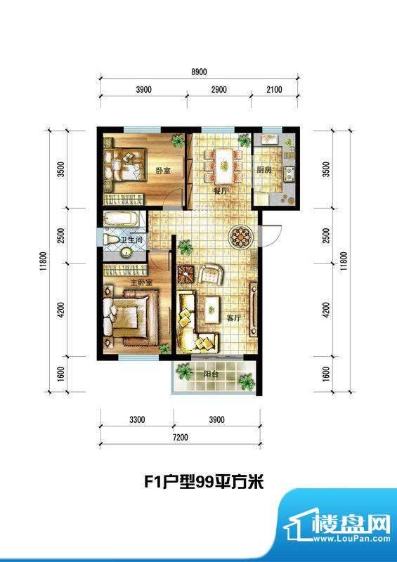 龙栖左岸F1户型 2室面积:99.00m平米