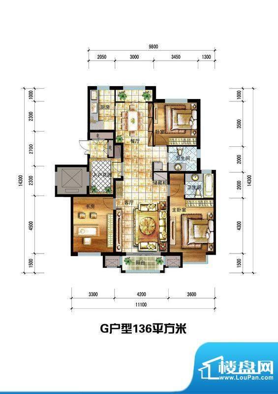 龙栖左岸G户型 3室2面积:136.00m平米