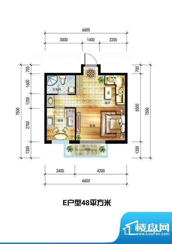 龙栖左岸E户型 1室1面积:48.00m平米