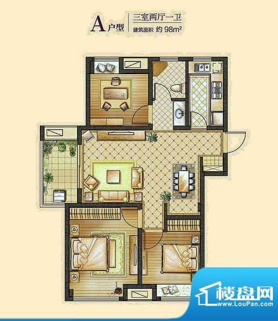 海亮·明珠A户型 3室面积:98.00m平米