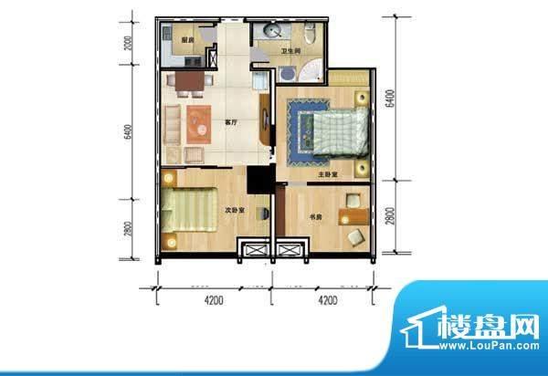 华夏世贸广场F户型平面积:0.00m平米