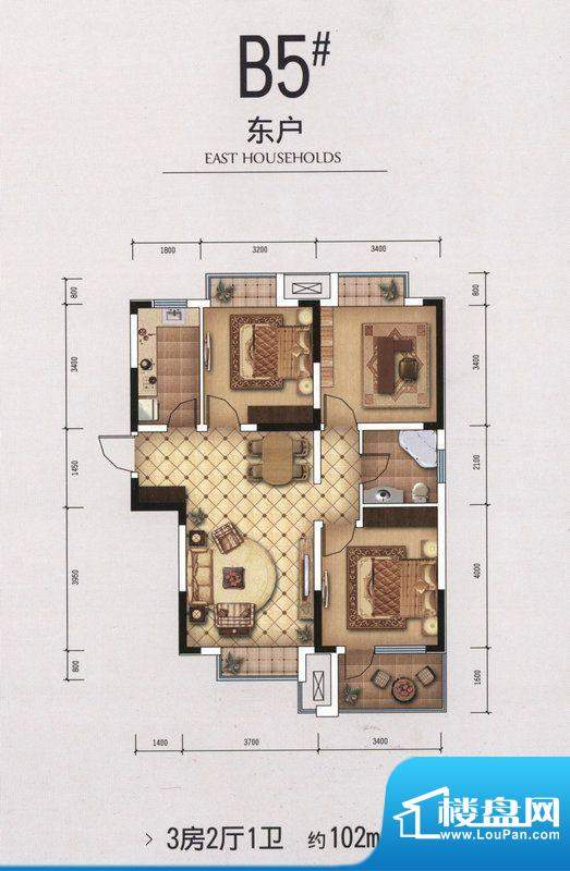 荣盛·云龙观邸B5#东面积:102.00m平米