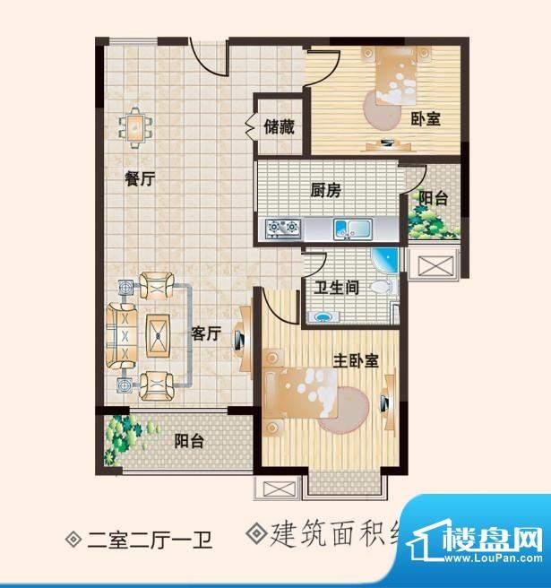 德坤华府二室二厅一面积:0.00m平米
