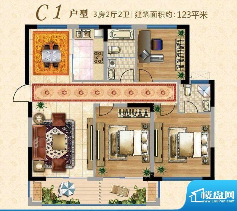 上河时代C1户型 3室面积:123.00m平米