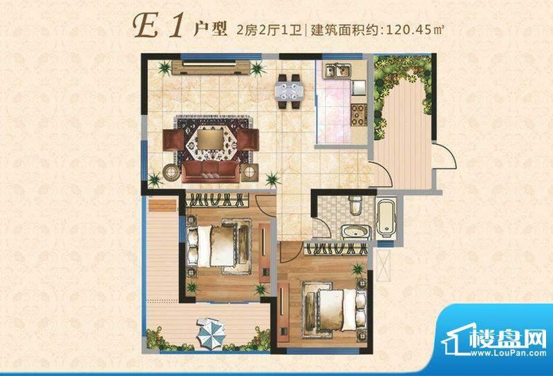 上河时代E1户型 2室面积:120.45m平米